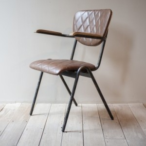 LEATHER & METAL ARMCHAIR